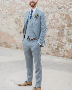 Steel Gray Three Pieces Groom Wedding Suit For Men CB036