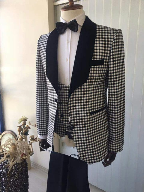 Mens Fashion Wear houndstooth Blazer Spots Suits 3 Pieces Set Men Suit