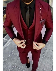 burgundy/dark red three pieces Men tuxedo for wedding/prom