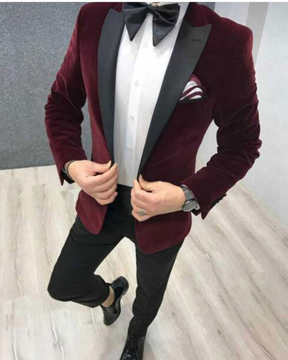 Burgundy Velvet Formal Dress Suits Smooking Tuxedos for Men Outfits CB0922 (Jacket+pants))