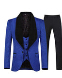 Red Men's 3 Piece Suit Slim Fit Jacquard Tuxedo One Button Shawl Collar Blazer Jacket Vest & Trousers CB07143