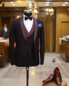 Purple Slim fit  Wedding Tuxedo for Men Prom Suit Three Pieces (jacket+pants+pants)