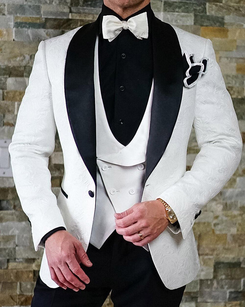 White And Black Shawl Lapel Groomsmen Blazer Slim Prom Tuxedo Wedding Suits For Men Bridegroom 3 Pieces