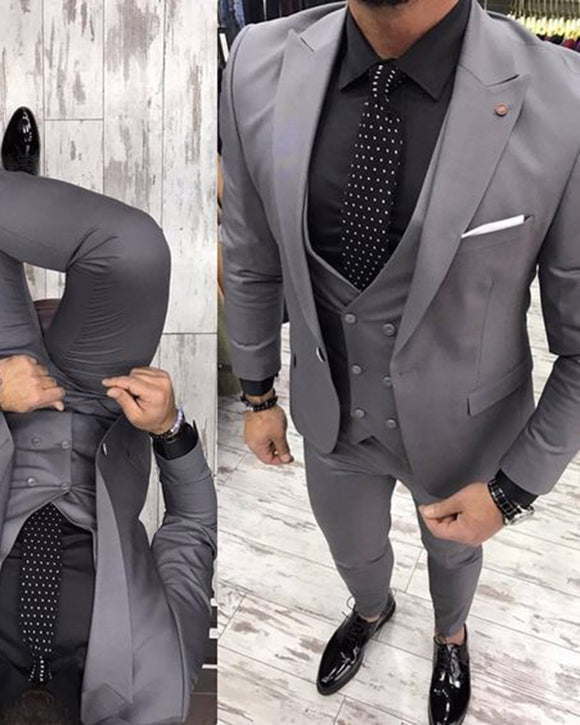 Gray Men Slim Fit Dress Suits Bestmen Formal Tuxedo 3 Pieces (jacket+pants+waistcoat) CB0065
