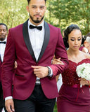 Burgundy Black Shawl Groom Wedding Tuxedo for Men 2 Pieces(Jacket+vest+tie)
