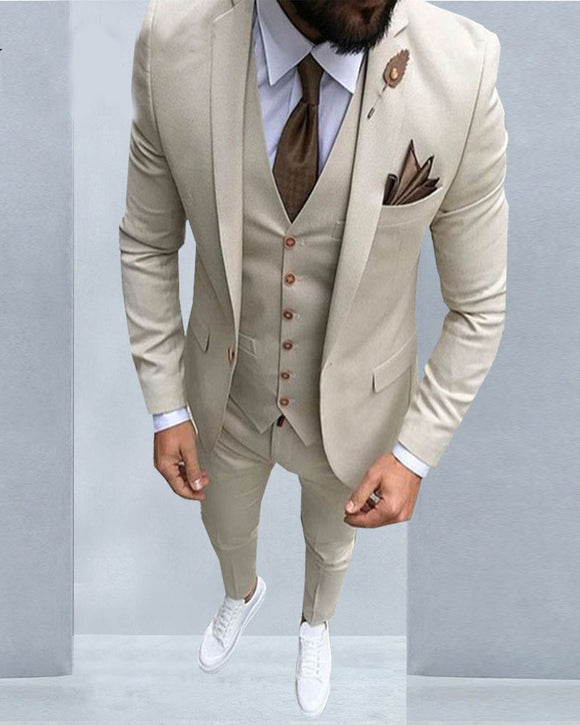 Beige Wedding Tuxedos for Men Dress Suit 3 Pieces ( Jacket+pants +vest)