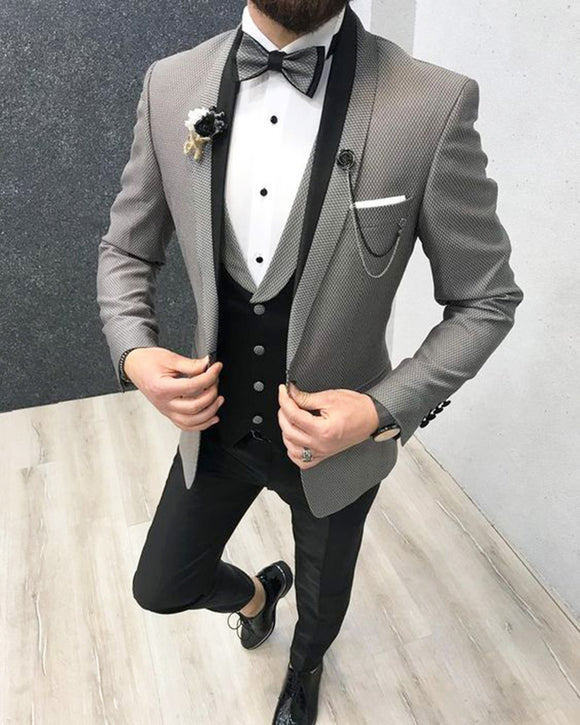 Gray Men wedding Tuxedos Suits Dinner Jacket Prom Suits 3 Pieces Slim Fit Cb01230