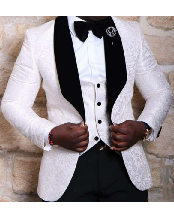 men blazer groomsmen shawl lapel groom tuxedos red white black men suits 2018 wedding jacket pants vest