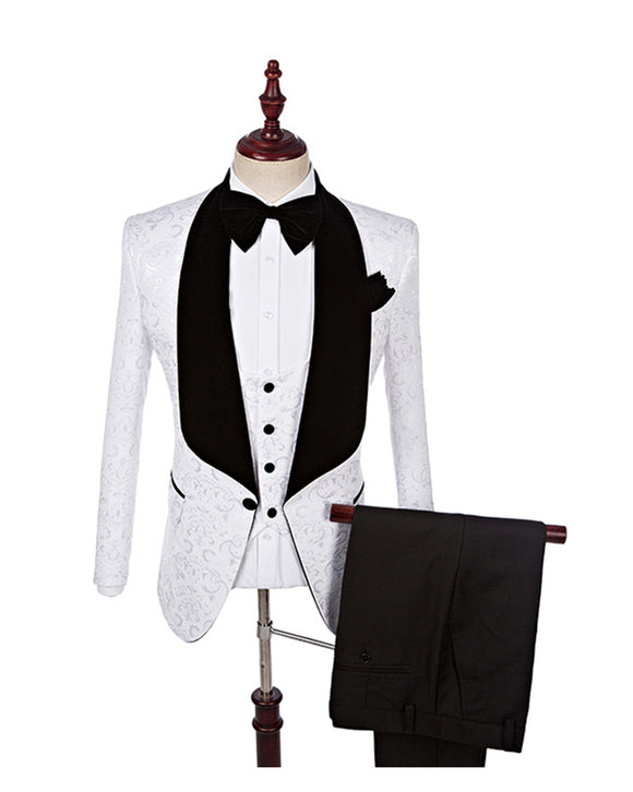 Latest Jacquard Coat Design Velvelt Shawl Lapel White Pattern Groom Tuxedo Suits for Wedding 3 Pieces CB1029