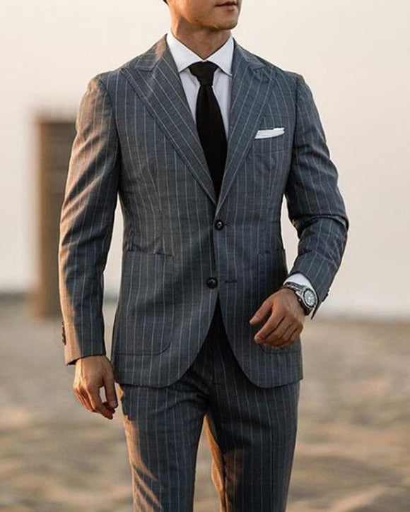 Gray Pinstripe Suits for Wedding Party Men's formal wear Business Suits  2 Pieces (Jacket+pants)CB08162