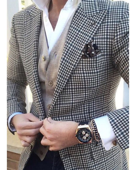Mens Checkered Suit Houndstooth Custom Made Men Dress Suits Two Pieces (Jacket+black pants)PL2149