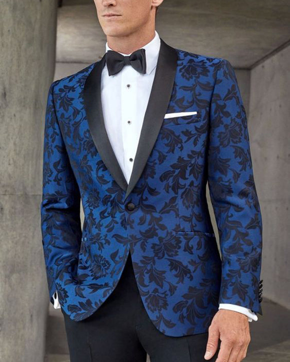 Black/Blue Jaquard /Print Floral Leaves Pattern Blazers Wedding Suits for Men,Men Tuxedo 2 Pieces (Jacket+pants)CB0705