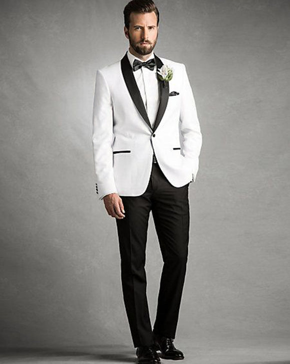 2 Pieces Slim Fit Tailor Made Black Tie White Suits Groom Men's Tuxedos For Wedding CB101080