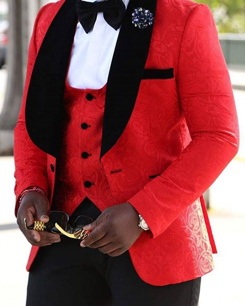 b3f7714392a ... men blazer groomsmen shawl lapel groom tuxedos red white black men  suits 2018 wedding jacket pants ...