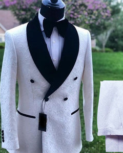 Double Breast White Pattern Jacquard Wedding Groom Tuxedo Suits with Black Shawl Lapel 2 Pieces CB10127