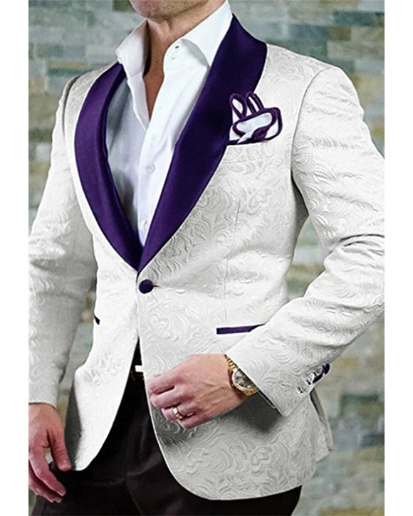 Rengency Purple Shawl Lapel Jacquard Groom Wedding Tuxedos Blazer with Black Pants 2 Pieces CB10101