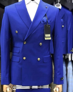 Double Breast Royal Blue Tuxedo Groom Wedding Suits Men Dress Suit Dinner Party