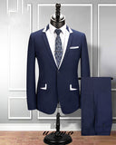 New Style Navy /White Lapel 2 Pieces Mens' Suis Groom Tuxedo for Wedding CB0911