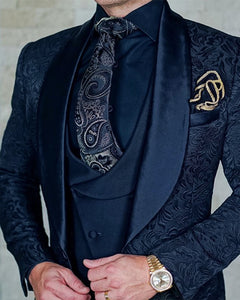 Navy Jacquard Jacket  Groom Tuxedos,Prom Party Suits for Men, Costume Homme Best Man Blazer CB1026