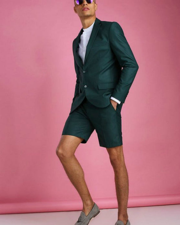 Dark Green Beach Wedding Suits Short Pants 2 Pieces Blazer Suits for Men ,Casual Suits CB0803