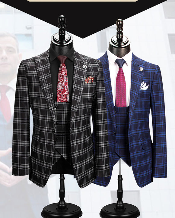 Fashion Blue Black Checked Business Suits Jacket Plaid Formal Wedding Suits Men's Outfit 3 Pieces CB0927