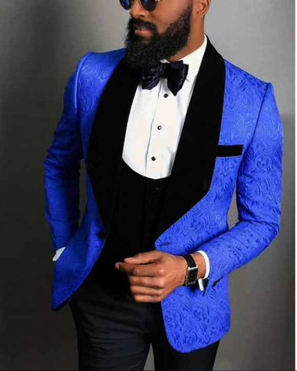Jackquard Floral Pattern Royal Blue Black Men Wedding Tuxedo 3 Pieces (jacket +vest +pants) Prom Suits CB08155