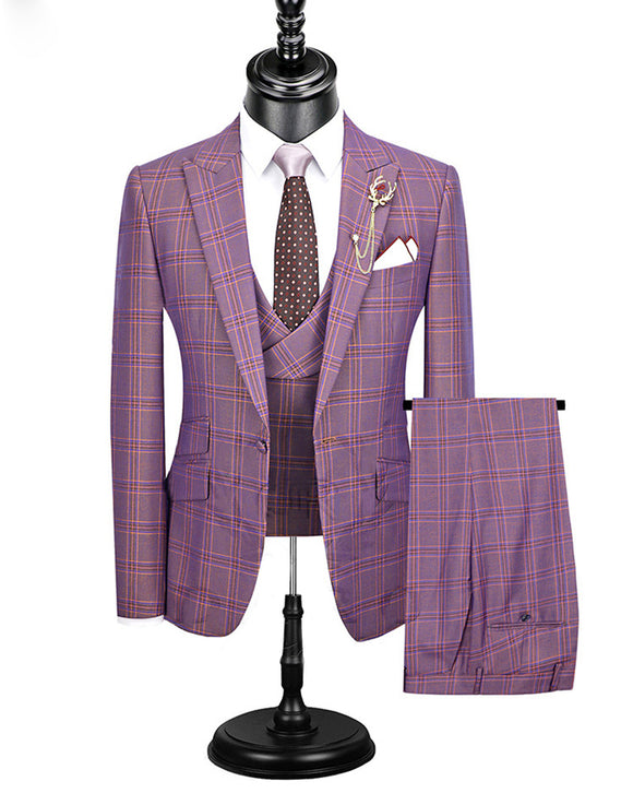 CB05091 Slim Fit Dress Suit 3 Pieces Fashion Plaid Checked  blue purple Wedding Dress Tuxedo (Jacket+Pant + Vest )
