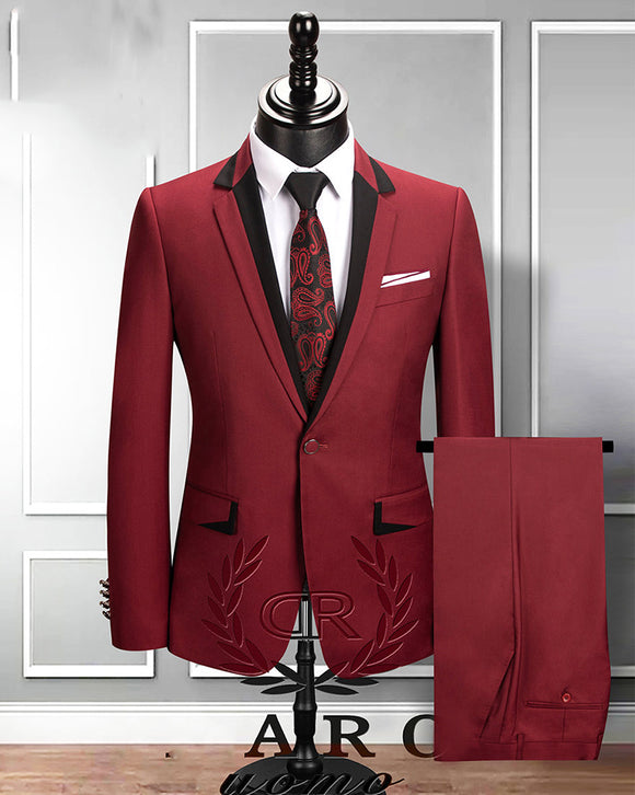 Slim Fit Burgundy Tuxedos Wedding Suits for Men out fits Jacket +vest +pants CB0916