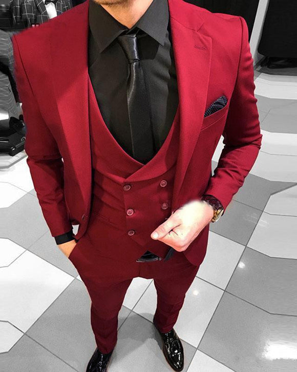 Red One Button Slim Fit  3 Pieces Men's Suits Blazer Menswear Groomsmen Dress Suit for Prom /Party /Wedding CB10110