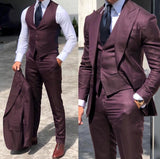 Peak Lapel Purple 3 Pieces Blazer Suits for Men ,Wedding formal Dress Outfits jacket Suist CB1024