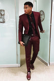 Burgundy Two Pieces Men Suits ,Slim Fit Wedding Groomsmen Blazer, One Button Formal Prom Business Suit (Jacket +Pants) CB10422