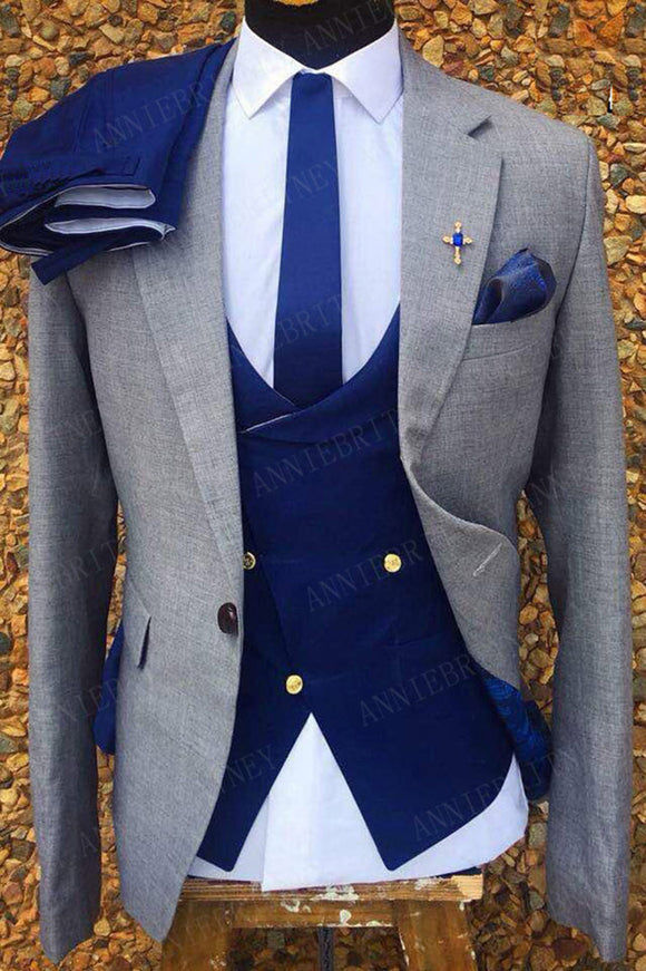 Stylish Slim Fit Gray and Royal Blue blazer Outfit for Men ,3 Pieces Prom Suits 2021 CB10430