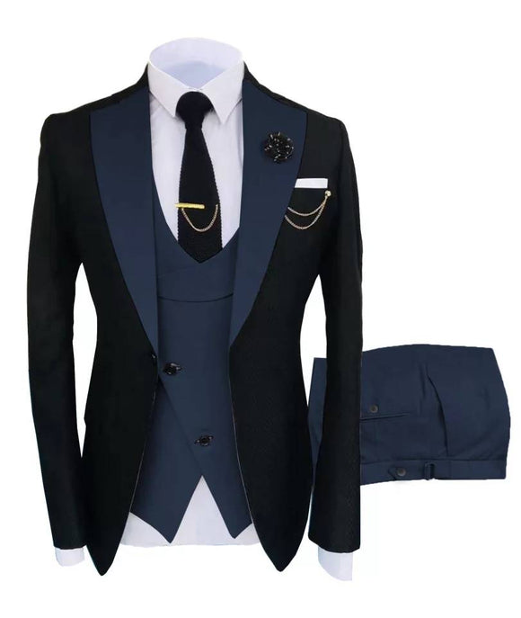 New Arrival Black Costume 3 Pieces Slim Fit Wedding Tuxedos One Button North Lapel Groomsmen Wear Costume Homme Men's Prom Blazer CB10119