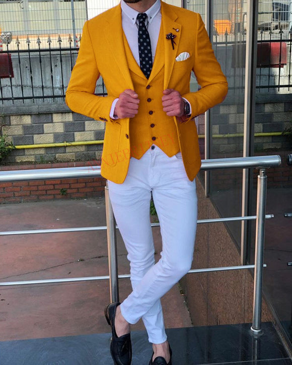 Yellow Gold blazer Suits For Men 3 Pieces Outfit Wear CB0919