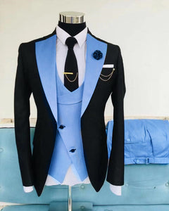 Blue and Black Peak Lapel Wedding Groom Suits for Men Formal Prom Party Jacket Blazer 3 Piecces (Jacket+Vest+pants)CB01213)