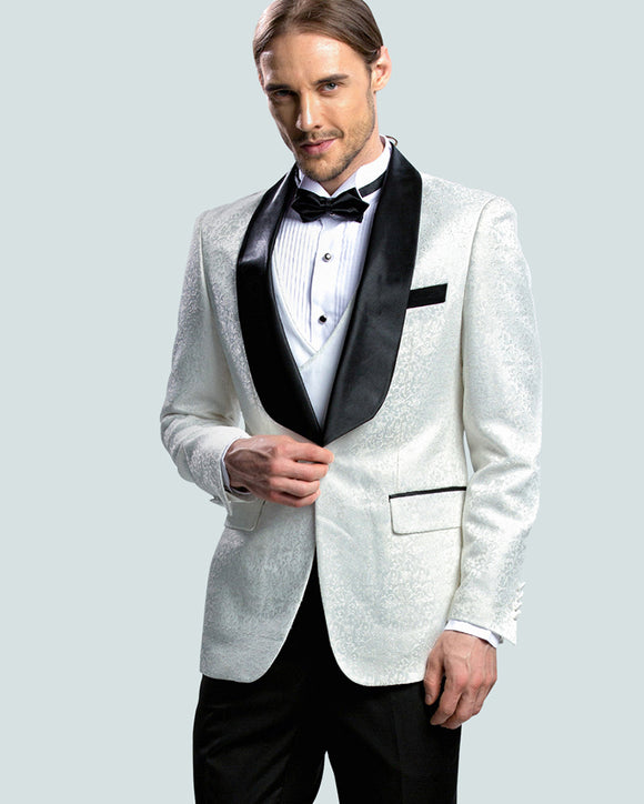 Shawl Lapel Slim fit Jacquard Pattern White Groom Suits, 2 Pieces Tuxedos costume homme CB10107