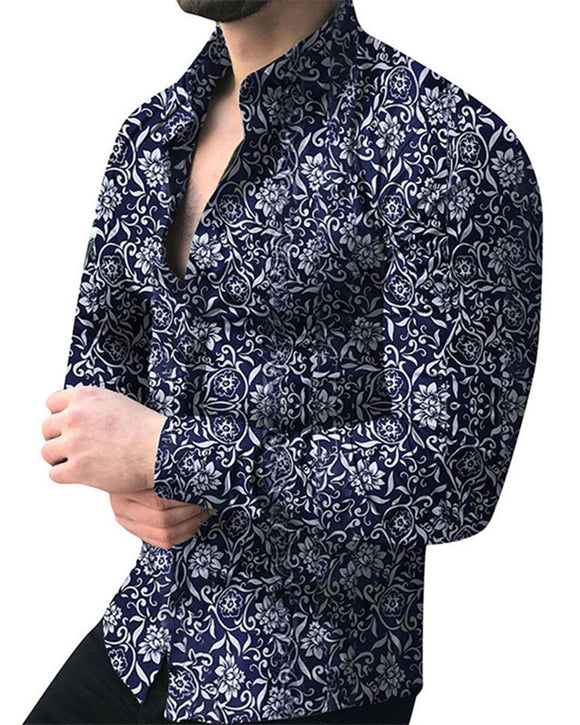 Men Shirt Long Sleeve Top  Floral Male Blouse Casual Shirts Summer Autumn Shirts hawaiian Men Clothes camisa masculina TS10108