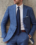 Navy Blue 2 Pieces Wedding Suits Lino Tweed Linen Suits for Men Business Summer CB0831