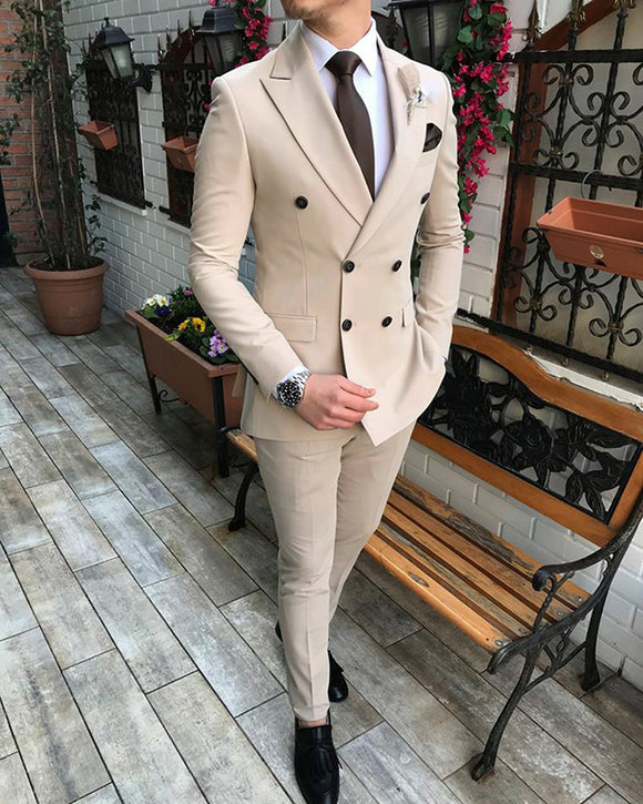 Peak Lapel Beige Double Breast Dinner Jacket Suits for Men 2 Pieces Formal Wedding Party Suits, Blue Prom suits CB0813