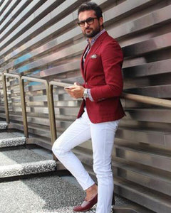 Burgundy Red Blazer Jacket+white Pants Casual Slim Fit Suits 2 Pieces (Jacket +pants)CB08082