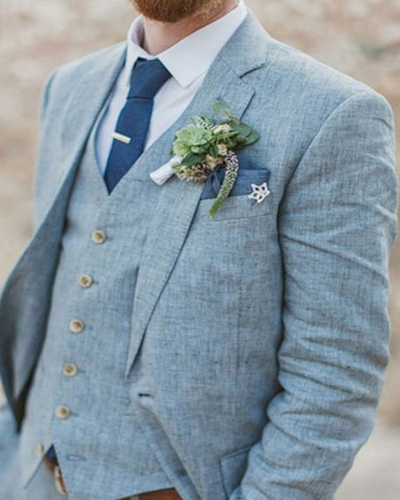 Linen Wedding Suits Dusty Light BLue Men Suits for Gorrm 3 Pieces (Jacket +pants+vest) CB0907