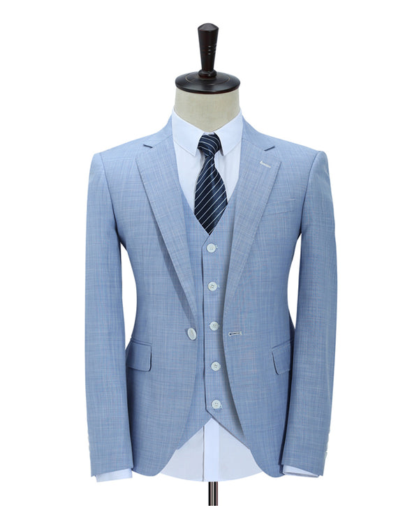 CB4433 Light Blue/Royal Blue Summer Wedding Tuxedos Men Linen Suits Groomsmen Outfits 3 Pieces