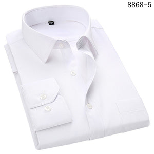 Men's Business Casual Long Sleeved Shirt White Smart Male Social Dress Shirt Plus