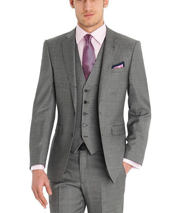 Mens Gray Wedding Suits 3 Pieces Costume Homme CB987
