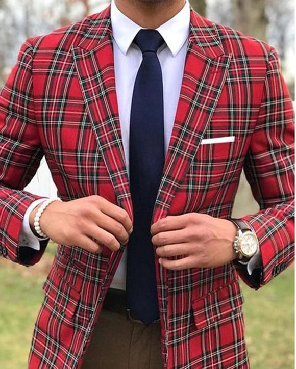 Peak Lapel Slim Fit Checked Pattern Plaid Red Suits Jackes for Men with Black Pants 2 Pieces CB01113