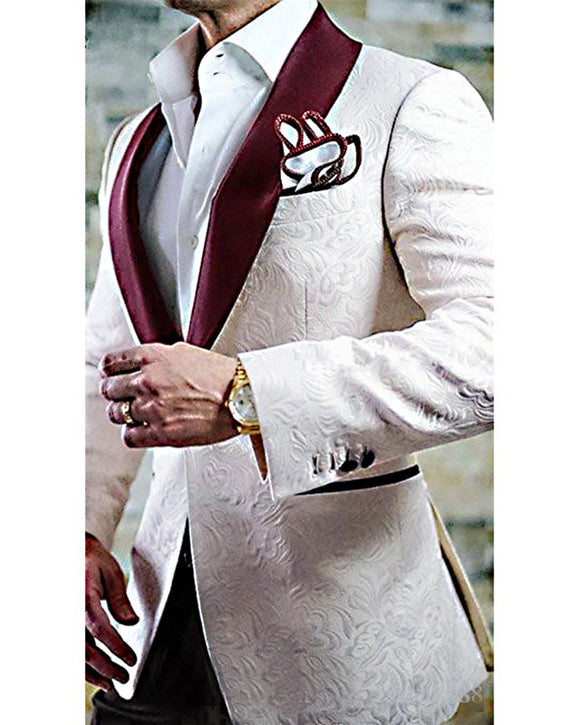 Fashion Ivory Jacquard Mens Suits With Pants Groom Tuxedos  Bridegroom tuxedo with Burgundy lapel CB3088