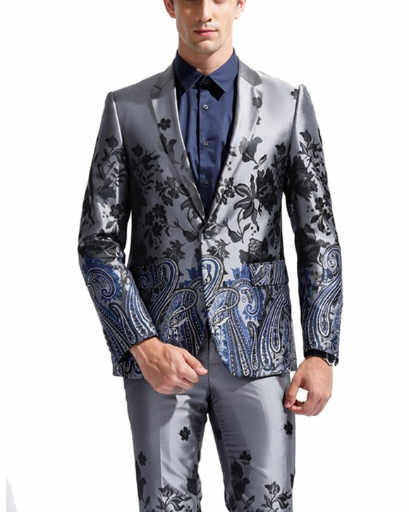 Paisley Gray Floral Pattern Suits ,Stage/ Singer/ Wedding Groom Tuxedo Costume CB0708