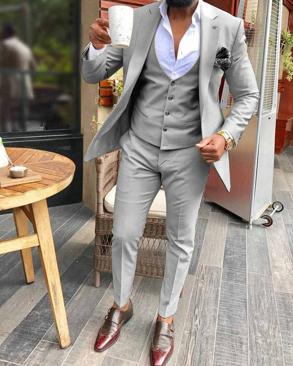 Fitness Fashion Solid Formal Dress Tuxedos Gray Groomsmen Suits 2 Pieces For Wedding