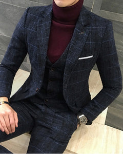 New Style Designs Navy Blue 3 Pieces 2020 Men British Mens Suit ,Autumn Winter Slim Fit Plaid Wedding Dress Tuxedos CB10190