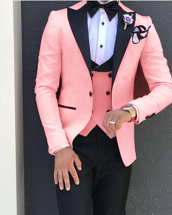 Elegant Pink/Black Tuxedos for Wedding Mens Dress Prom Suits 2020 3 Pieces(jacket +pants+vest))